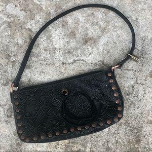 Black Vintage Purse with Floral Detail